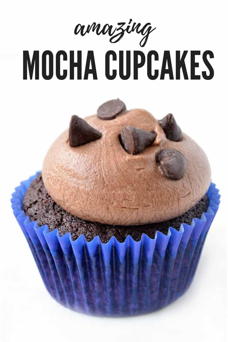 These Amazing Chocolate Mocha Cupcakes are divine! Soft chocolate cake topped with creamy coffee frosting and chocolate chips! Recipe from sweetestmenu.com #chocolate #cake #frosting #coffee #mocha #dessert