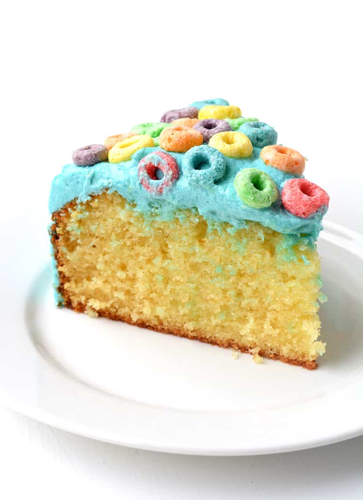 A slice of Froot Loop Cereal Milk Cake