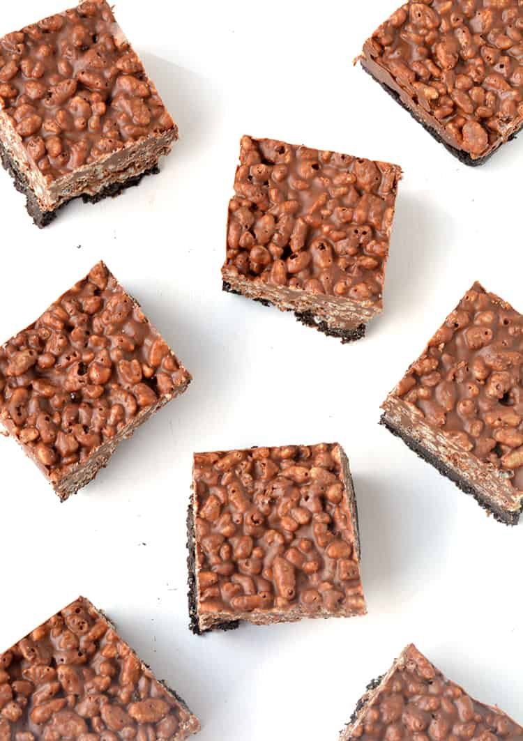 Overhead shot of peanut butter rice krispie bars