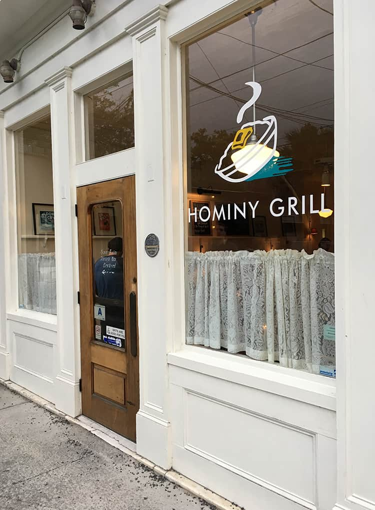 Front door of Hominy Grill in Charleston