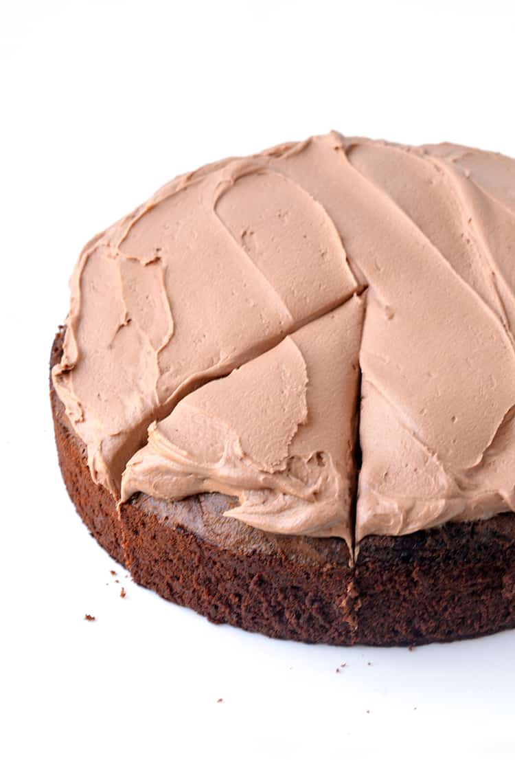 Chocolate mud cake with milk chocolate frosting