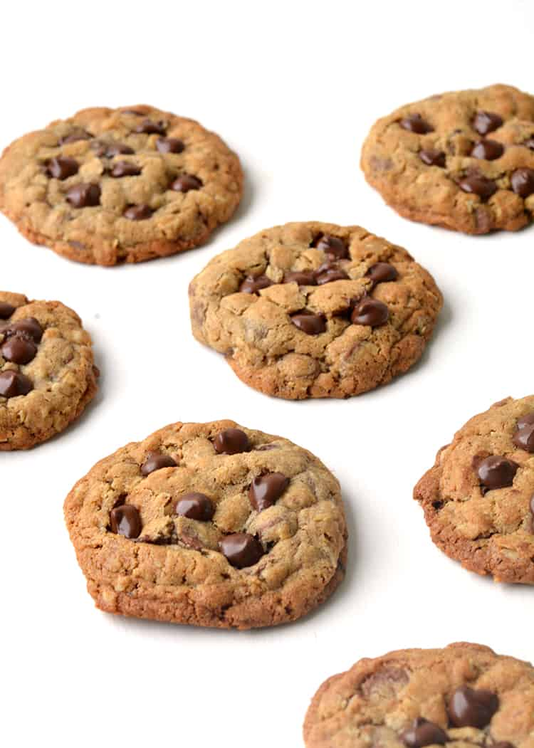 Oatmeal chocolate chip cookies on a white background
