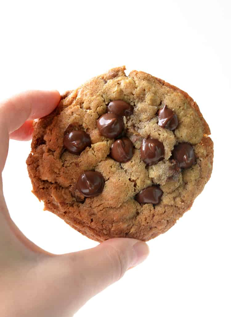 Hand holding an Oatmeal chocolate chip cookie