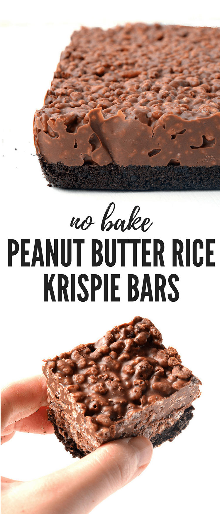 Amazing no bake Peanut Butter Rice Krispie Bars with an Oreo crust. You only need 6 ingredients to make these gorgeous chocolate treats! Recipe from sweetestmenu.com #chocolate #peanutbutter #oreo #dessert #baking #ricekrispies