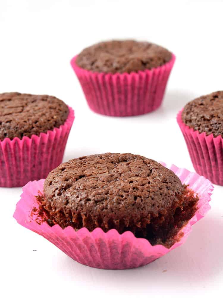 Brownie cupcakes in pink cupcake liners