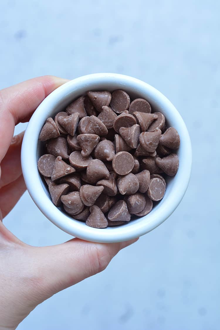 A small bowl of chocolate chips