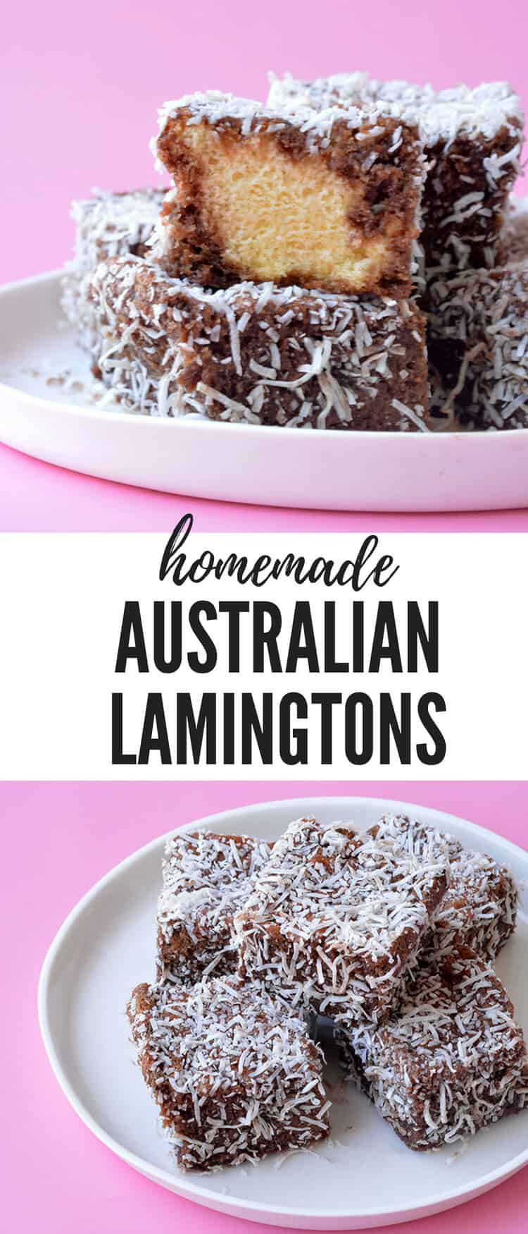 Learn how to make gorgeous homemade Lamingtons from scratch. This gorgeous Australia sponge cake is dipped in chocolate and covered in coconut - yum! Recipe from sweetestmenu.com #chocolate #coconut #cake #lamingtons