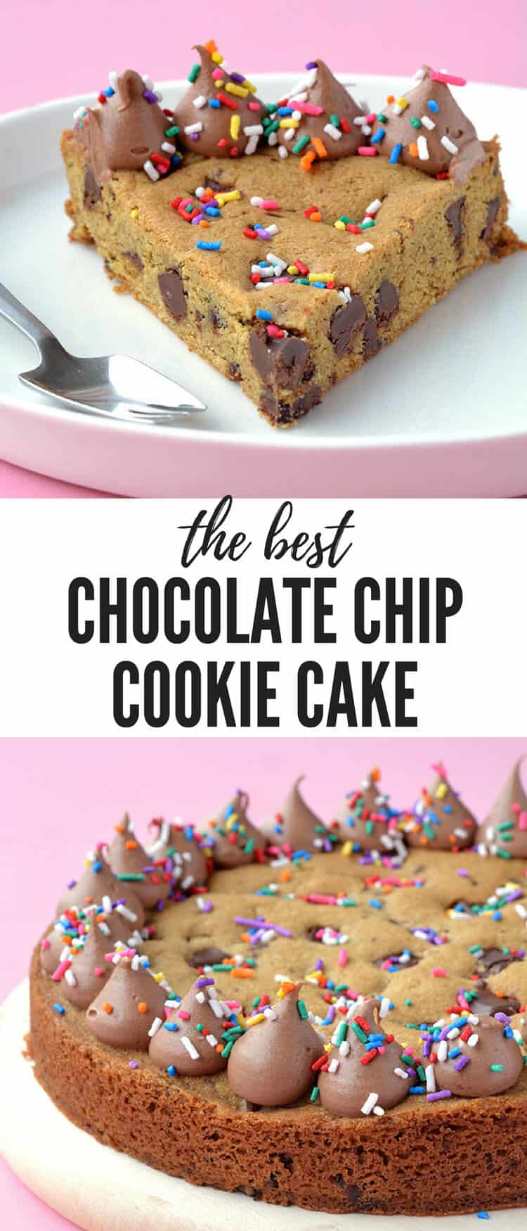 You'll LOVE this gorgeous Chocolate Chip Cookie Cake! Topped with creamy chocolate frosting, it's perfect for your next birthday or celebration. Recipe on sweetestmenu.com #cookie #cake #dessert #birthday #sprinkles