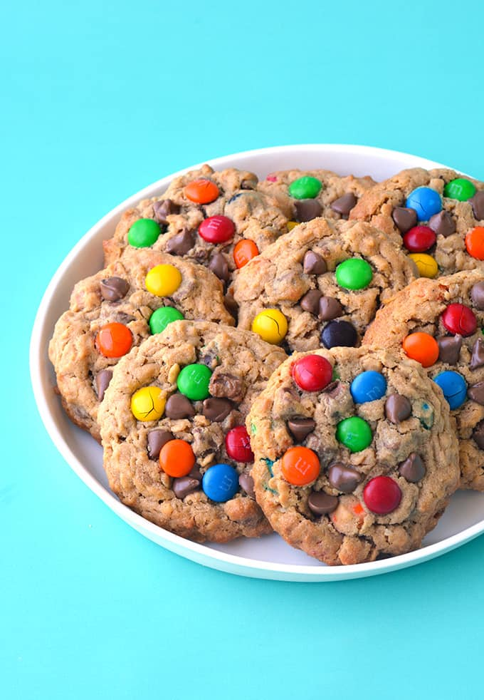 Monster Cookies on a white plate