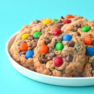 Monster M&M Peanut Butter Cookies