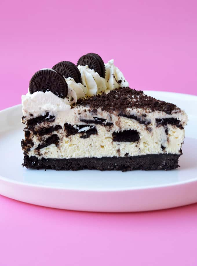 Side view of a slice of Oreo Cheesecake