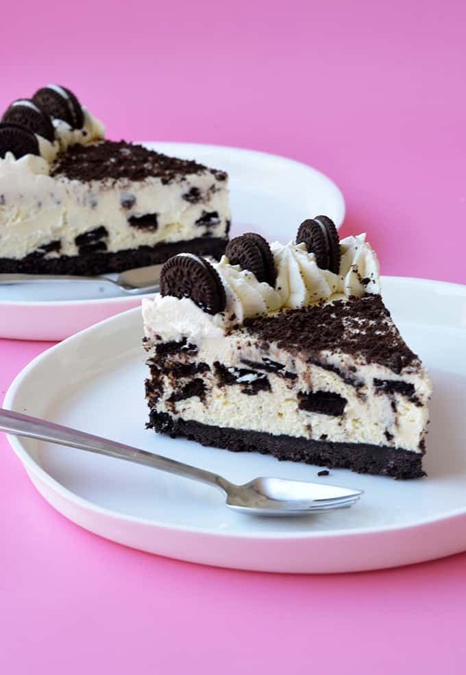A slice of No Bake Oreo Cheesecake