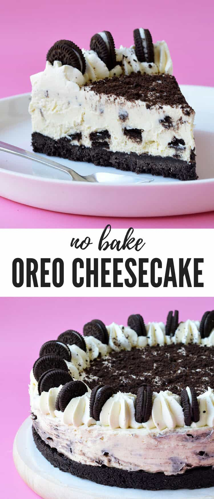This No Bake Oreo Cheesecake is the ultimate cookies and cream dessert. With a crunchy Oreo crust and a creamy cheesecake filling, it's so easy to make! You don't even need to turn the oven on. Recipe from sweetestmenu.com #Oreos #cheesecake #dessert