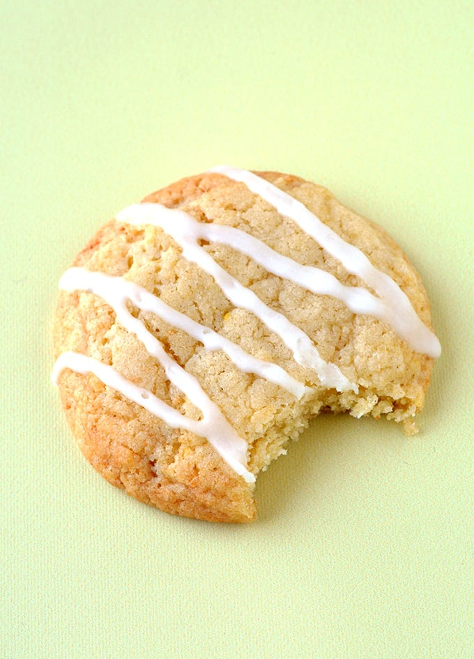 Lemon Cookies with a bite taken out of it