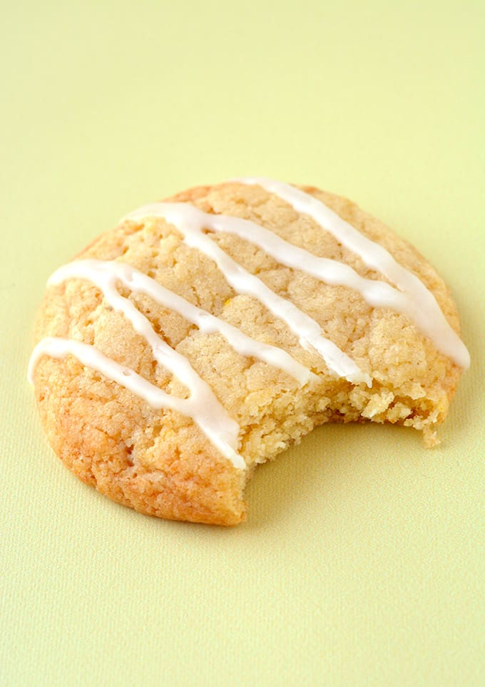 Close up of a Lemon Cookies with a bite taken out of it