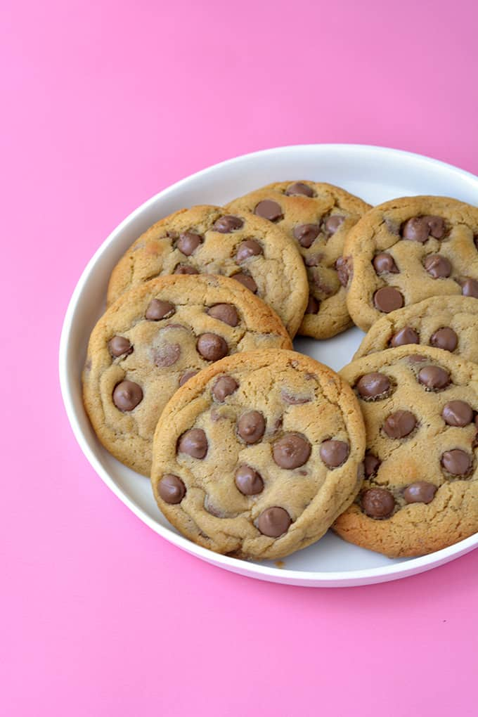 A plate of Malted Chocolate Chip Cookies