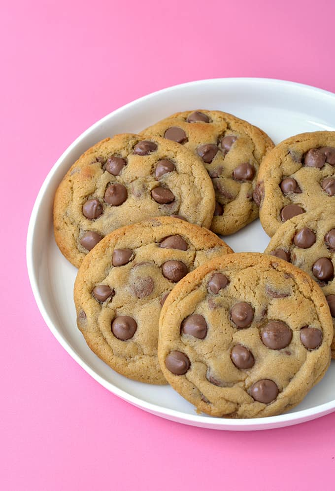 Malted Chocolate Chip Cookies on a white plate