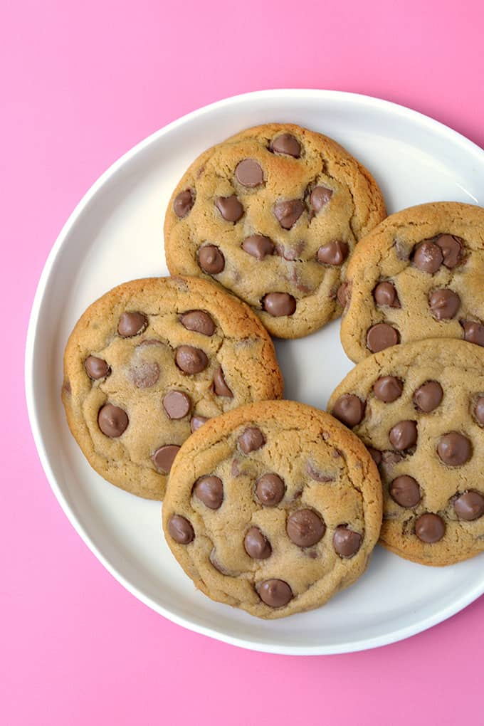 Top view of a plate of Malted Chocolate Chip Cookies