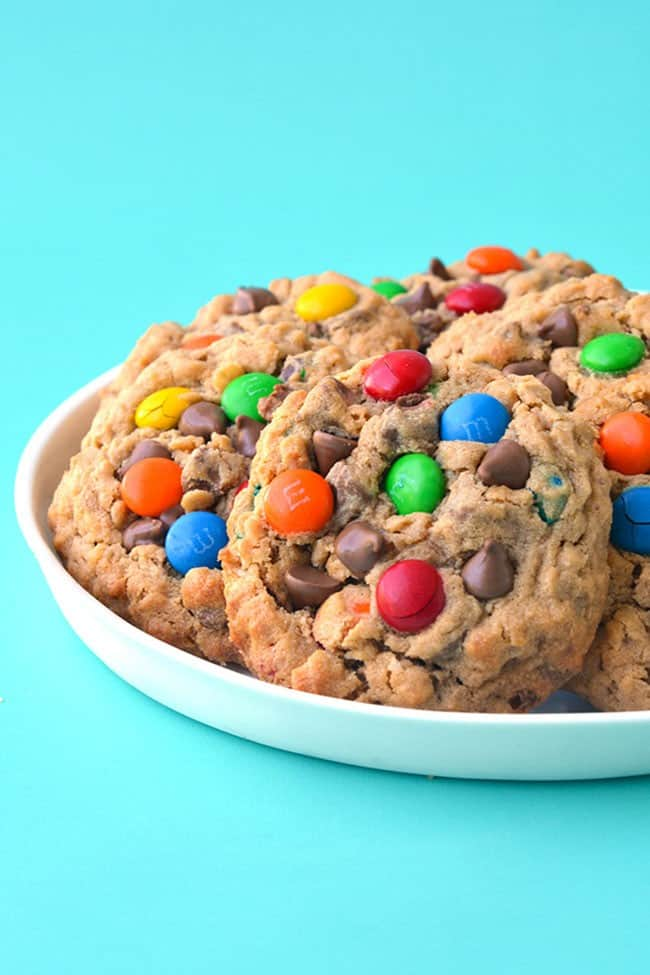 A plate of Monster Cookies