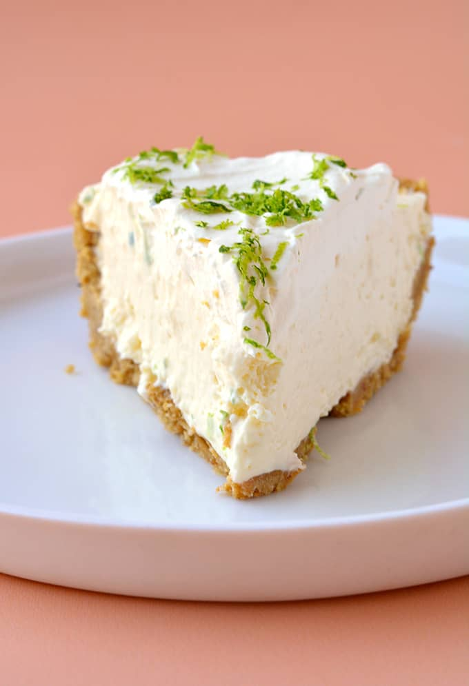 A slice of No Bake Key Lime Pie