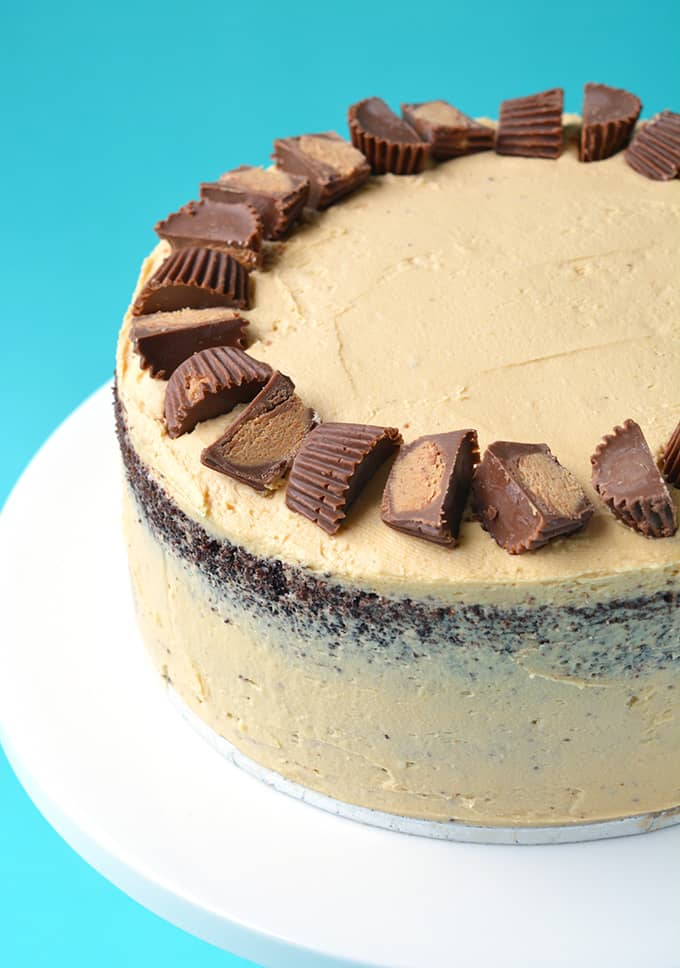 Top view of a Peanut Butter Chocolate Layer Cake