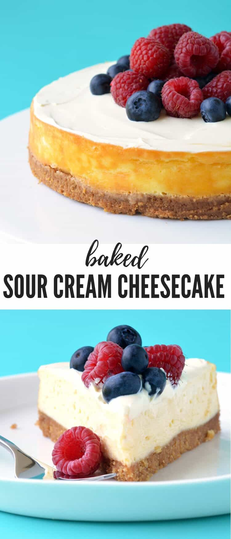 A creamy baked Sour Cream Cheesecake topped with fresh berries. Made without a water bath, this easy, extra creamy cheesecake is perfect for a special occasion. Recipe from sweetestmenu.com #cheesecake #sourcream #berries #newyorkcheesecake
