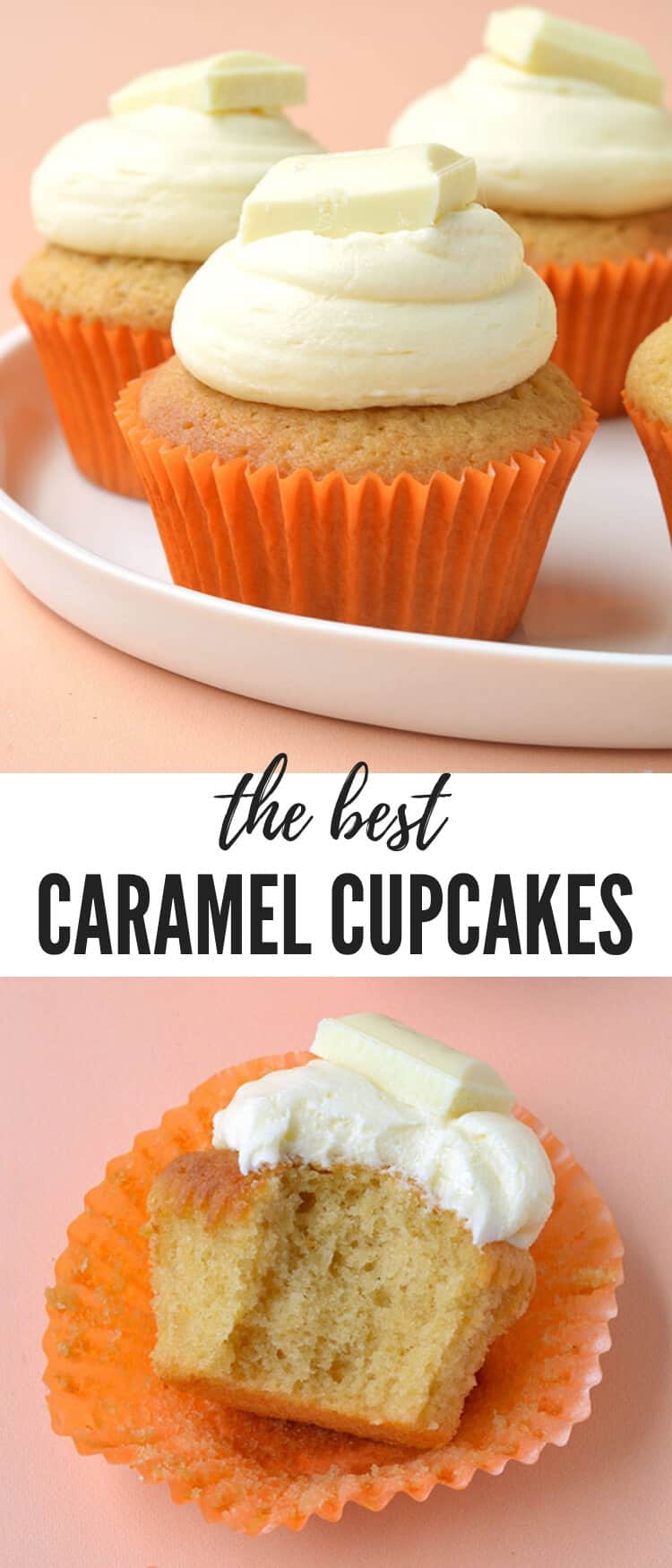 These are hands down the BEST Caramel Cupcakes I've ever had. Made with brown sugar and white chocolate, these cupcakes are topped with a luscious white chocolate buttercream. Recipe on sweetestmenu.com #cupcakes #caramel #cake #whitechocolate