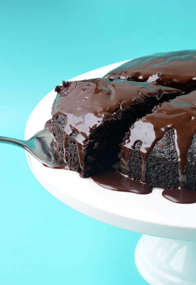 A slice of Eggless Chocolate Cake