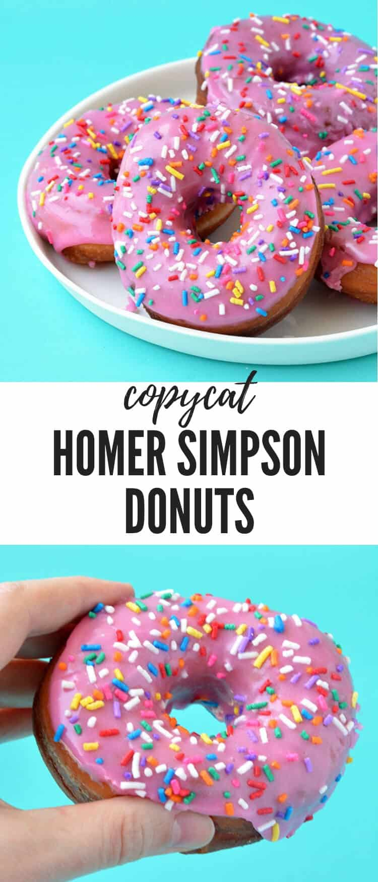 Fan of The Simpsons? You'll love munching on these Homer Simpson Donuts. Deep-fried and topped with a sweet pink glaze and loads of funfetti sprinkles, they're the ultimate donut. Recipe from sweetestmenu.com #donuts #doughnuts #sprinkles #funfetti