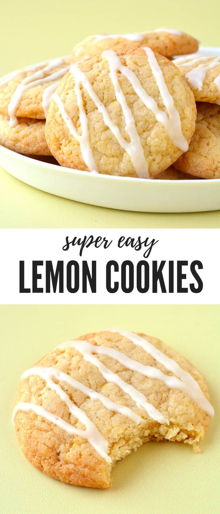 Deliciously chewy Lemon Cookies made using fresh juice and zest from real lemons. Drizzled with a two ingredient lemon glaze, these Lemon Cookies are the perfect afternoon treat. Recipe from sweetestmenu.com #lemon #cookies #baking #dessert