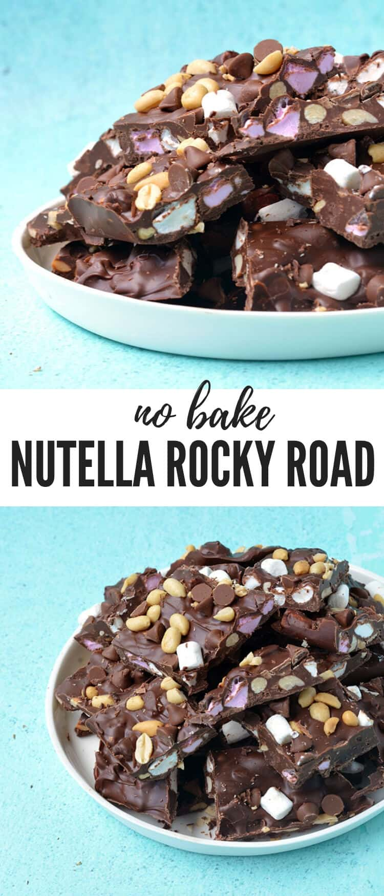 You'll love this five ingredient Nutella Rocky Road Bark. Filled with mini marshmallows and roasted peanuts, it's a super easy no bake treat - perfect for Christmas or holiday gifts. Recipe from sweetestmenu.com #nutella #rockyroad #chocolate #christmas