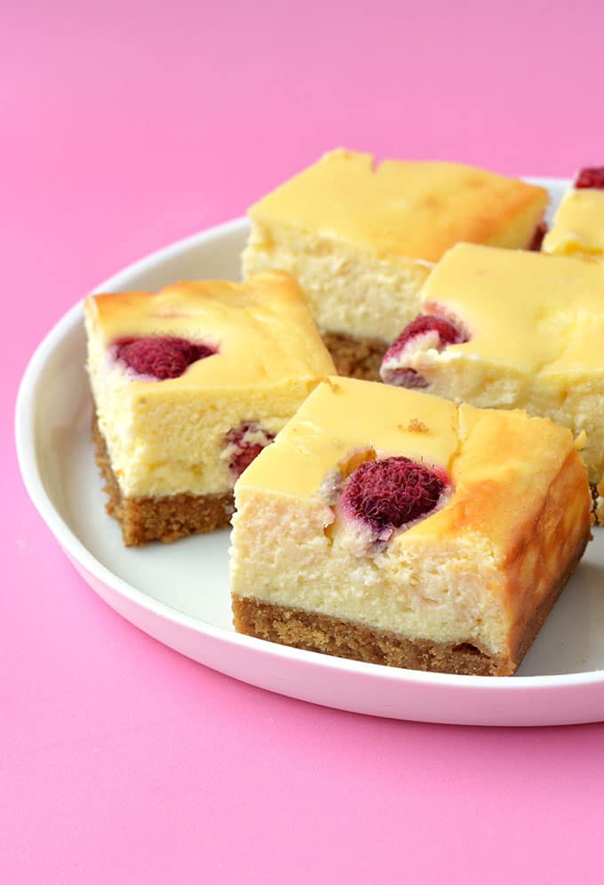 Close up of a White Chocolate Raspberry Cheesecake Square
