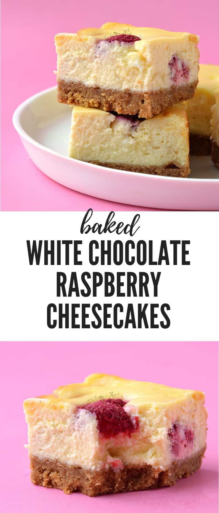 Baked White Chocolate Raspberry Cheesecake Bars made with fresh raspberries. Creamy and smooth, these easy cheesecake are so easy to make - no water bath needed. Recipe from sweetestmenu.com #cheesecake #raspberries #raspberry #whitechocolate