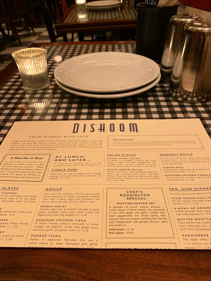 Table from Dishoom in Kensington