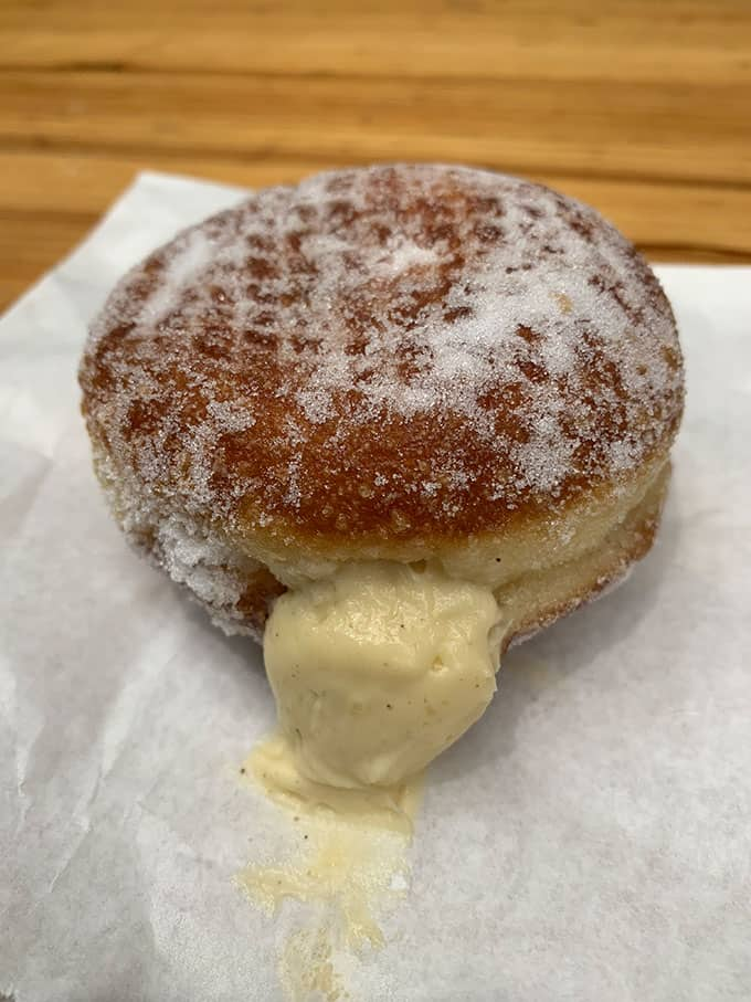 Custard filled donut from Bread Ahead in London