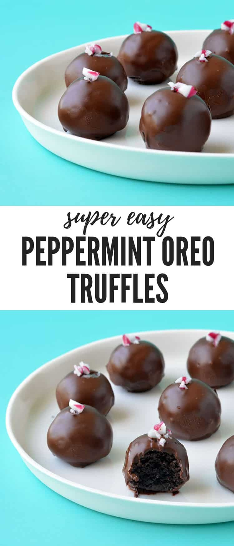 Celebrate Christmas with these five ingredient Peppermint Oreo Truffles. Boasting a soft chocolate mint centre, these Oreo truffles are covered with dark chocolate and crushed candy canes. Find the easy recipe from sweetestmenu.com #oreos #truffles #chocolate #christmas