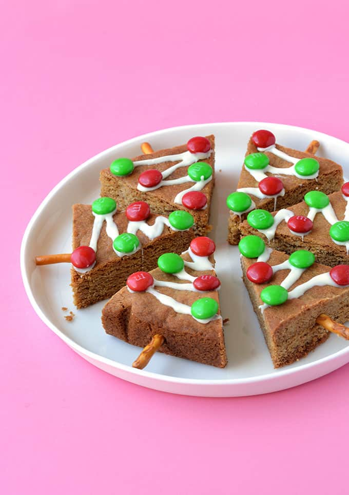 Gingerbread Christmas Trees on a white plate