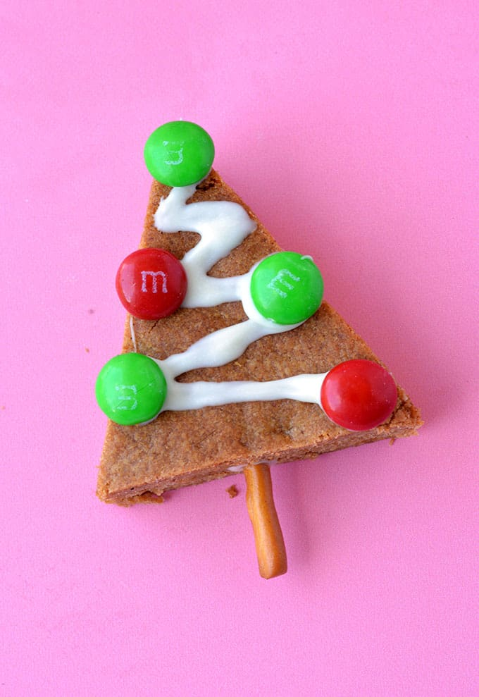 A close up on a homemade Gingerbread Christmas Tree