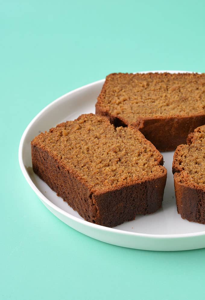 Close up of thick pieces of Gingerbread Loaf Cake