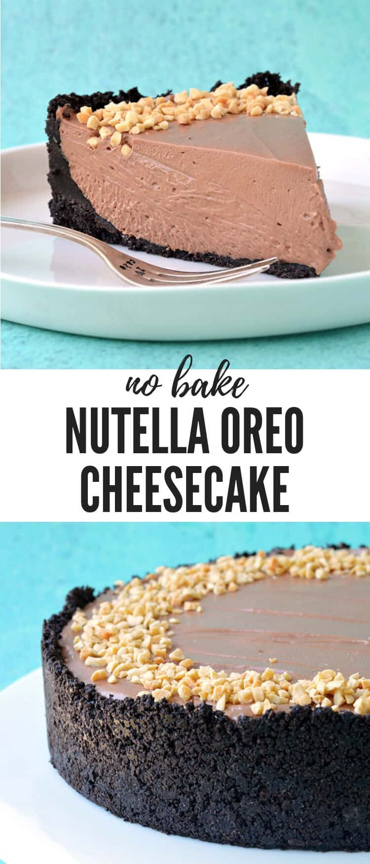 A deliciously rich and creamy Nutella Oreo Cheesecake. This gorgeous no bake cheesecake - made without gelatine - boasts a crunchy Oreo crust and a creamy Nutella cheesecake filling, all topped with roasted hazelnuts. Recipe from sweetestmenu.com #cheesecake #chocolate #oreos #nutella #nobake
