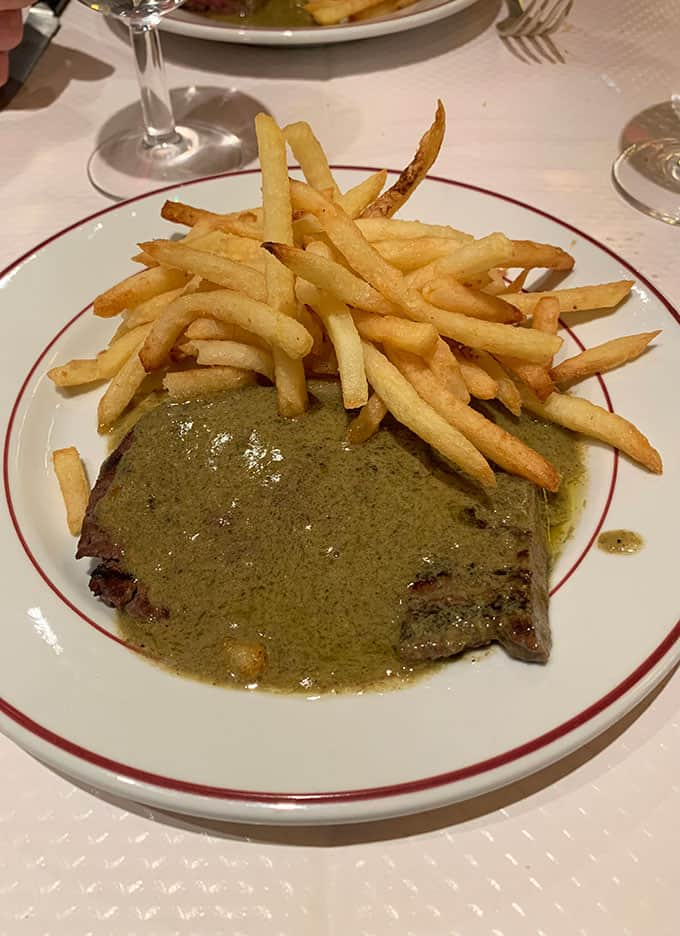 A plate of steak frites