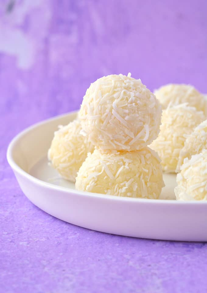 A plate of homemade White Chocolate Truffles