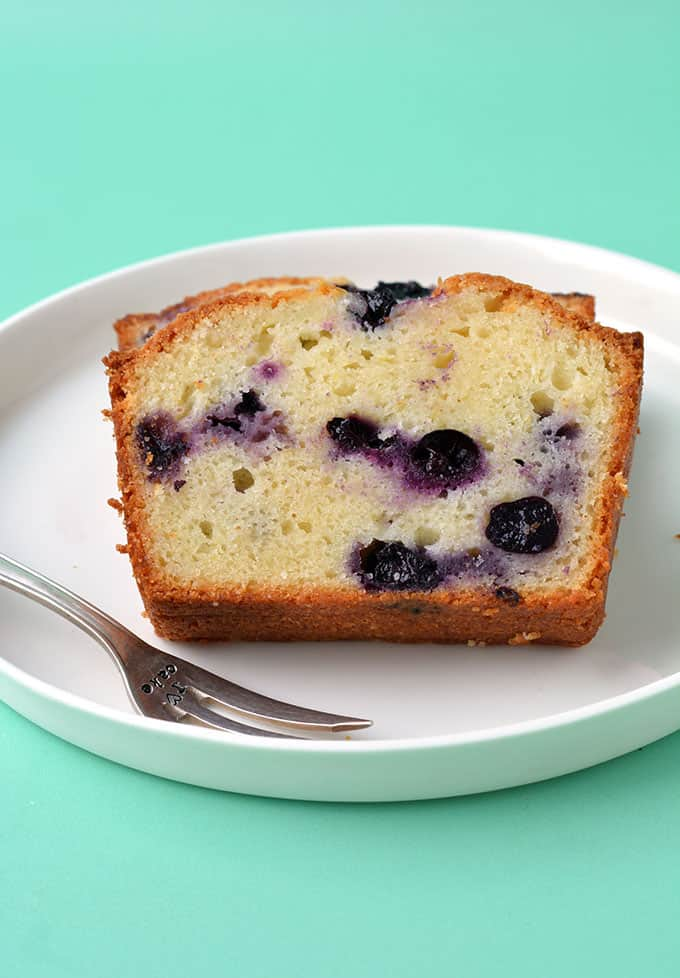 Close up of a Blueberry lemon loaf