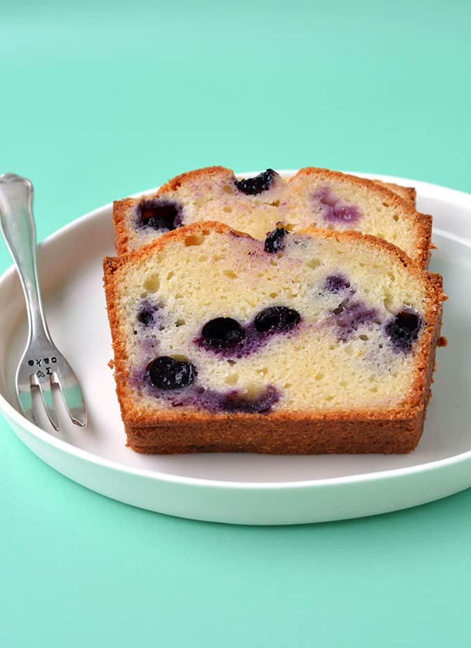 Slices of Blueberry Bread on a white plate