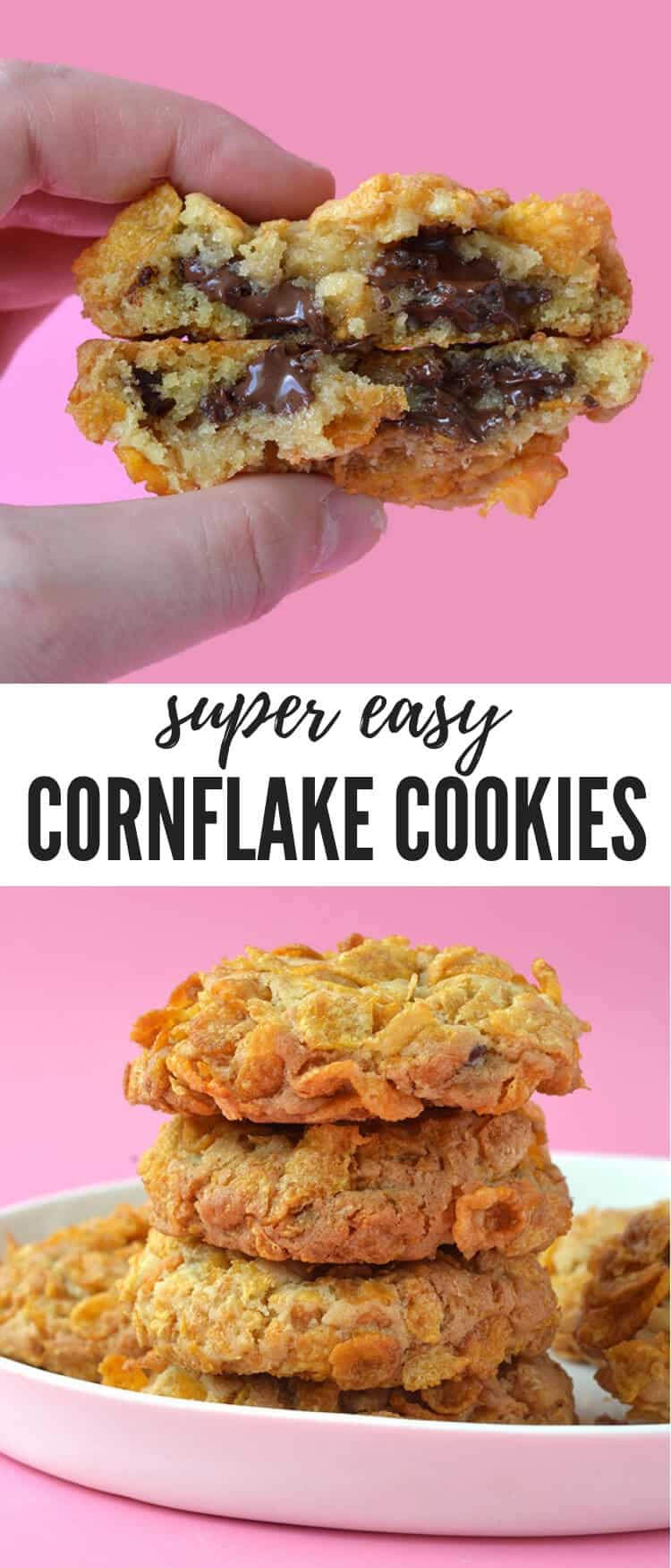 You'll love these thick and chewy Cornflake Cookies. Buttery cookie dough loaded with chocolate chips, rolled in crunchy Cornflakes and baked until golden and crisp. Recipe from sweetestmenu.com #cornflakes #cookies #cookie #chocolatechips