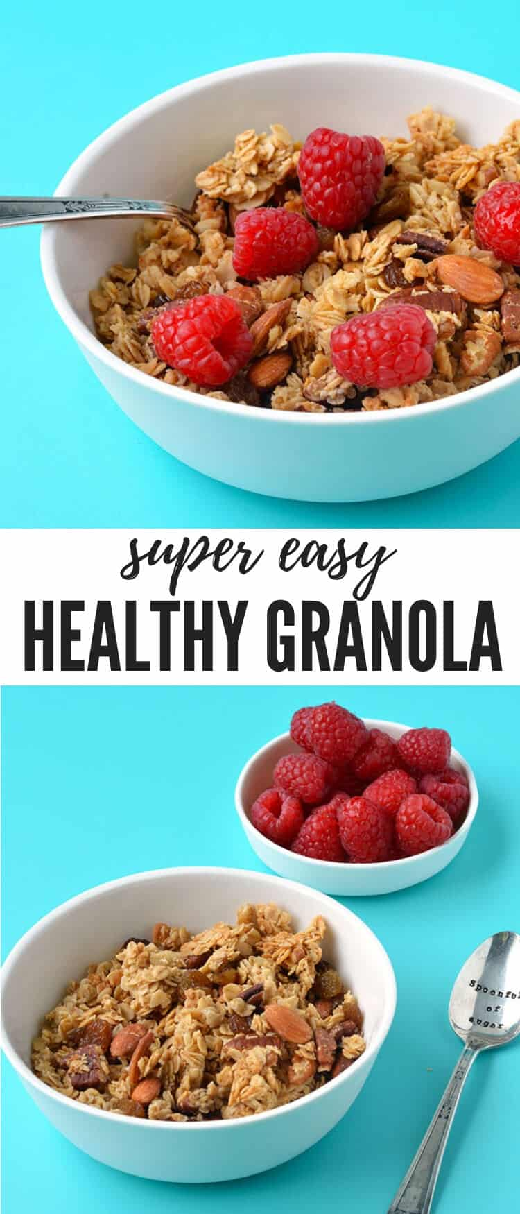 A deliciously easy granola made with just six ingredients, perfect for breakfast or a tasty snack. This toasted granola is packed with pecans, almonds and raisins and flavoured with maple syrup.  Find the easy recipe on sweetestmenu.com #granola #nuts #healthy #breakfast