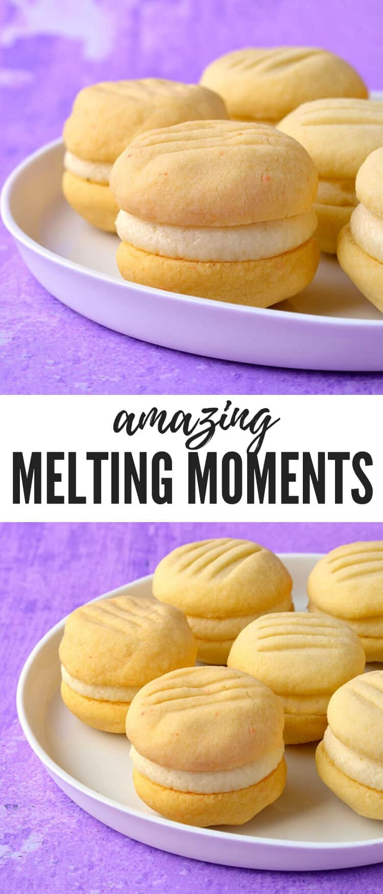 Fall in love with these four ingredient Melting Moments. These buttery shortbread cookies are egg free and sandwiched together with creamy vanilla buttercream. Recipe from sweetestmenu.com #cookies #buttercream #shortbread