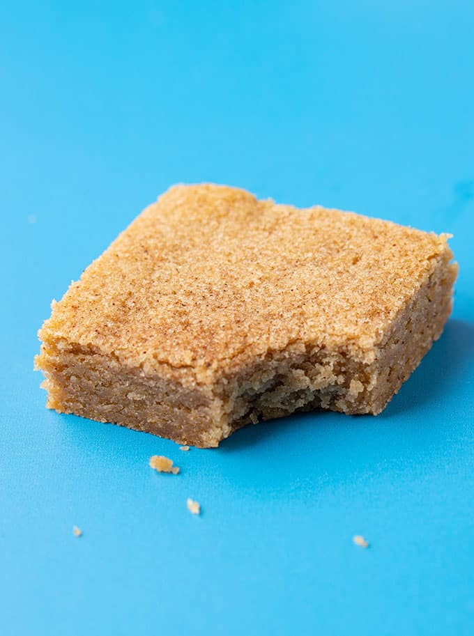 Close up of a homemade Chai Cookie Bar with a bite taken out of it