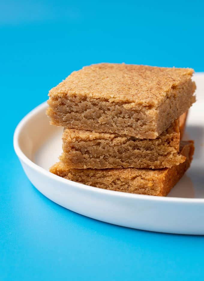 Homemade Chai Spiced Blondies on a white plate