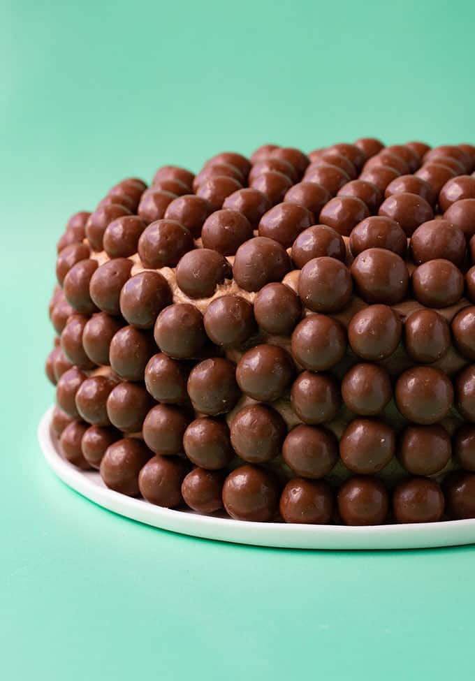 Chocolate cake covered in Maltesers